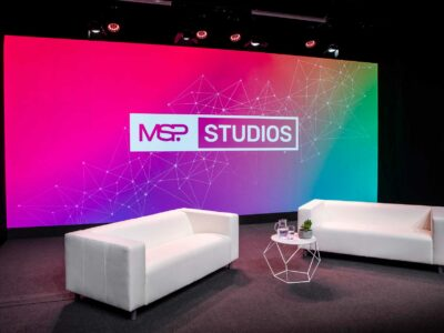 Purpose built MSP Studios with video wall backdrop